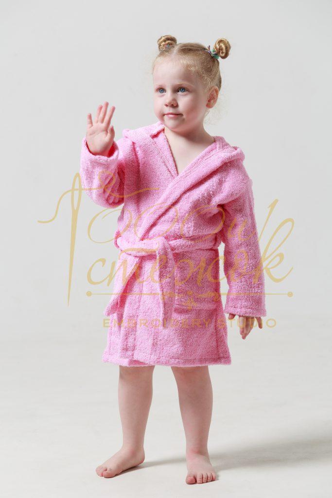 Детский халат с капюшоном категории «Стандарт» с именной вышивкой (Розовый)