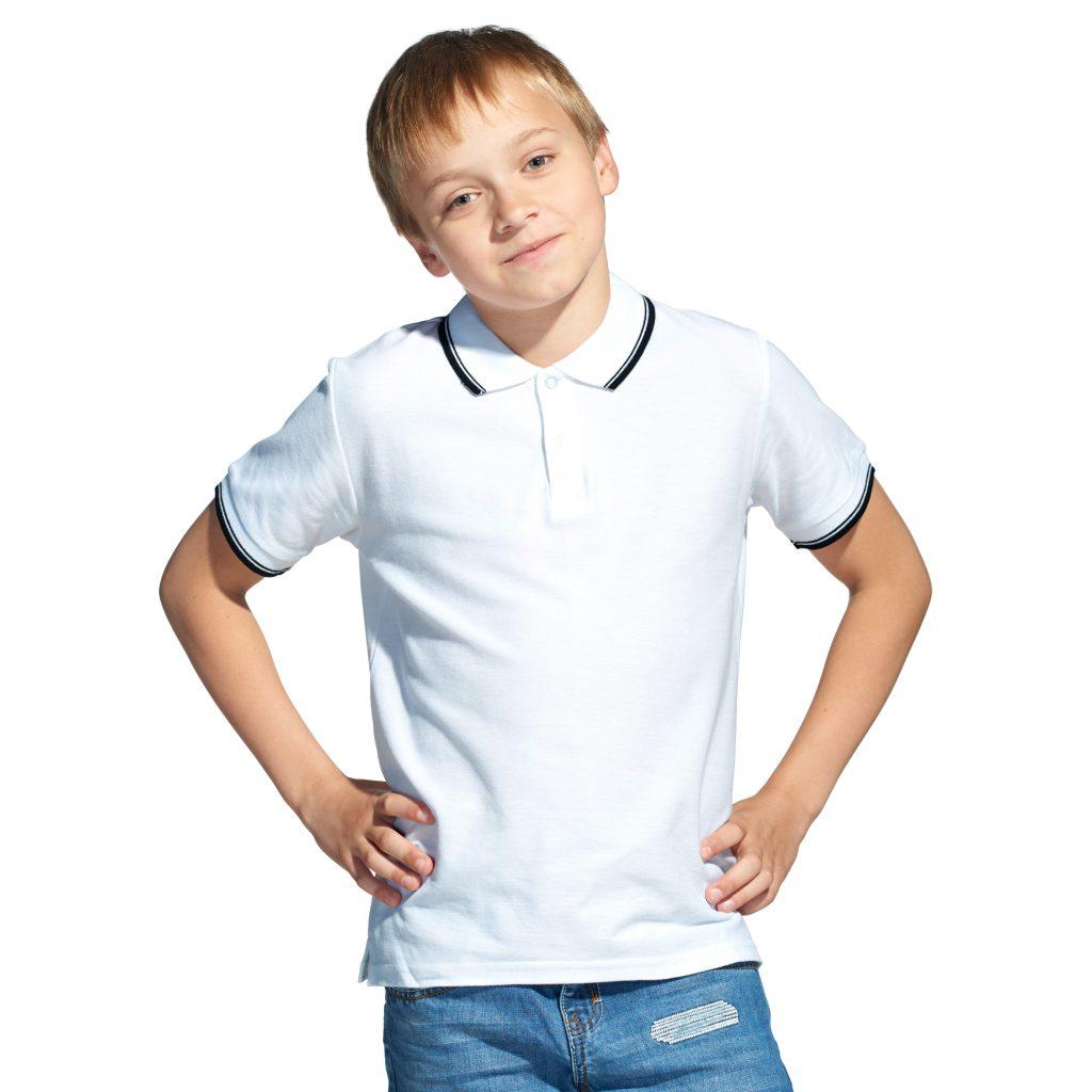 Детская рубашка поло с именной вышивкой (Белый)