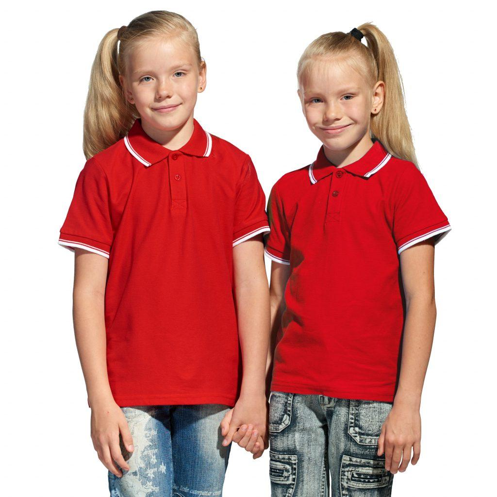 Детская рубашка поло с именной вышивкой (Красный)