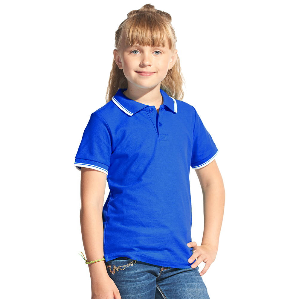 Детская рубашка поло с именной вышивкой (Синий)
