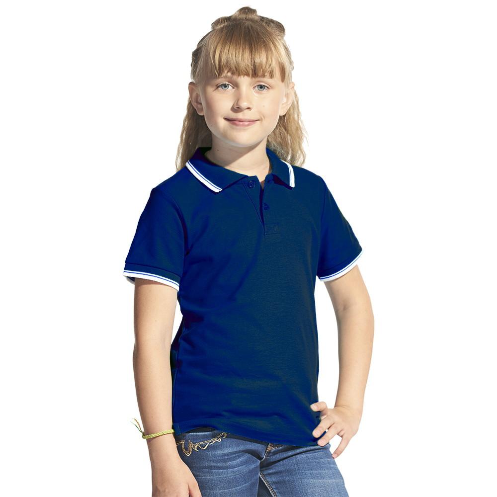 Детская рубашка поло с именной вышивкой (Темно-синий)